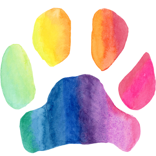 Rainbow Paw Print Sticker or Vinyl Decal - Pups of Color