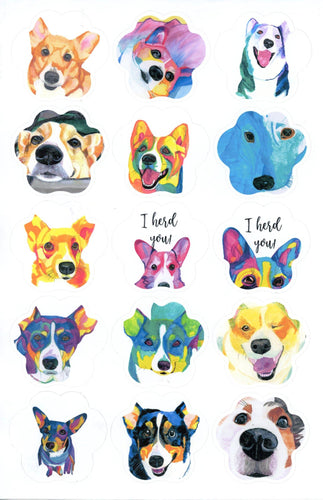 Rainbow Paw Shape Custom Watercolor Portrait Sticker or Vinyl Decal Set - Pups of Color