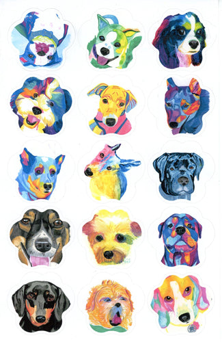 All Breeds Paw Shape Custom Watercolor Portrait Stickers or Vinyl Set - Pups of Color