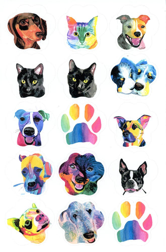 Paw Shape Custom Watercolor Portrait Sticker or Vinyl Decal Set - Pups of Color