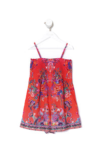 KIDS PLAYSUIT WITH SHIRRING FREE LOVE