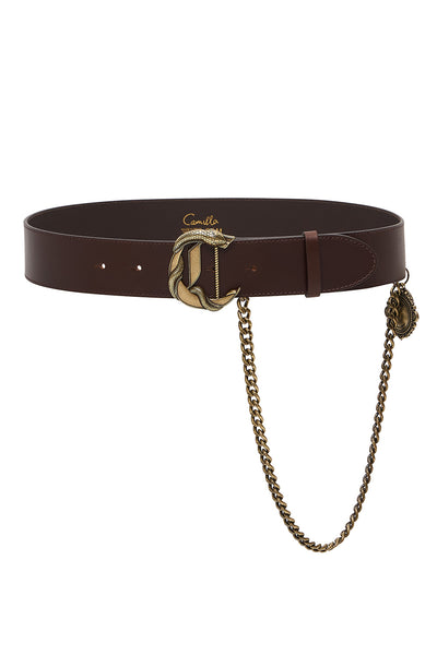 C BUCKLE LEATHER BELT WITH CHAIN SOLID BROWN