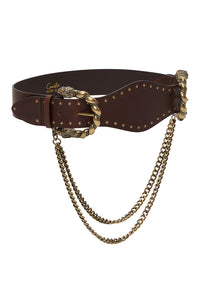 DOUBLE LION BUCKLE BELT WITH CHAIN SOLID BROWN