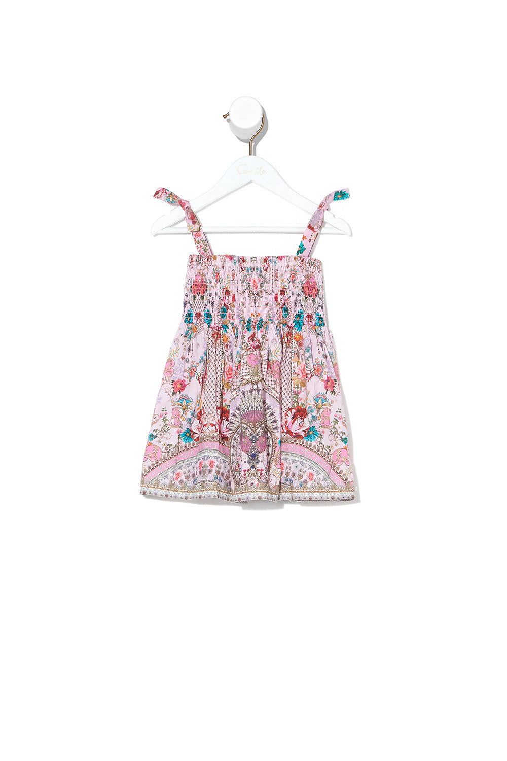 BABIES DRESS WITH SHIRRING BELIEVE IN LOVE