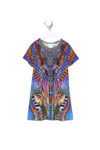 KIDS TSHIRT DRESS WITH FLARE HEM LOVE ON THE WING