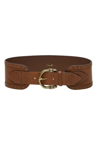 CINCHED LEATHER BELT TAN