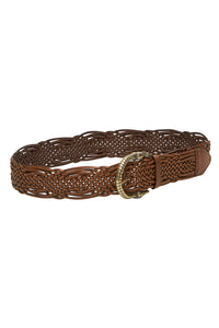 WOVEN LEATHER BELT TAN