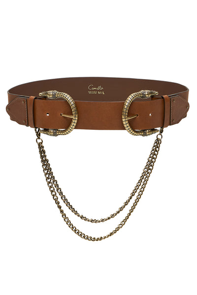 DOUBLE CROC LEATHER BELT TAN