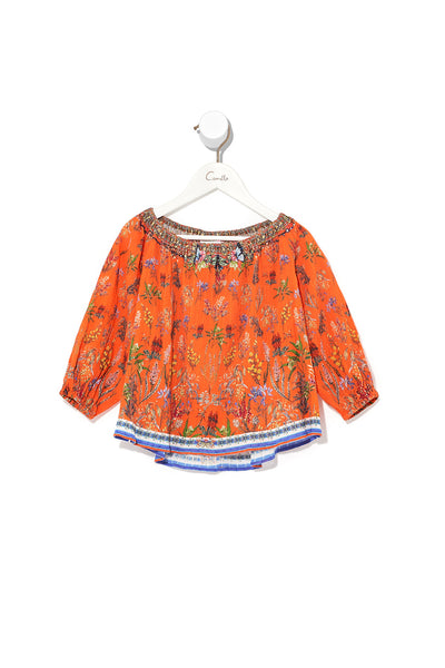 KIDS ELASTICATED NECK BLOUSE GONE COAST