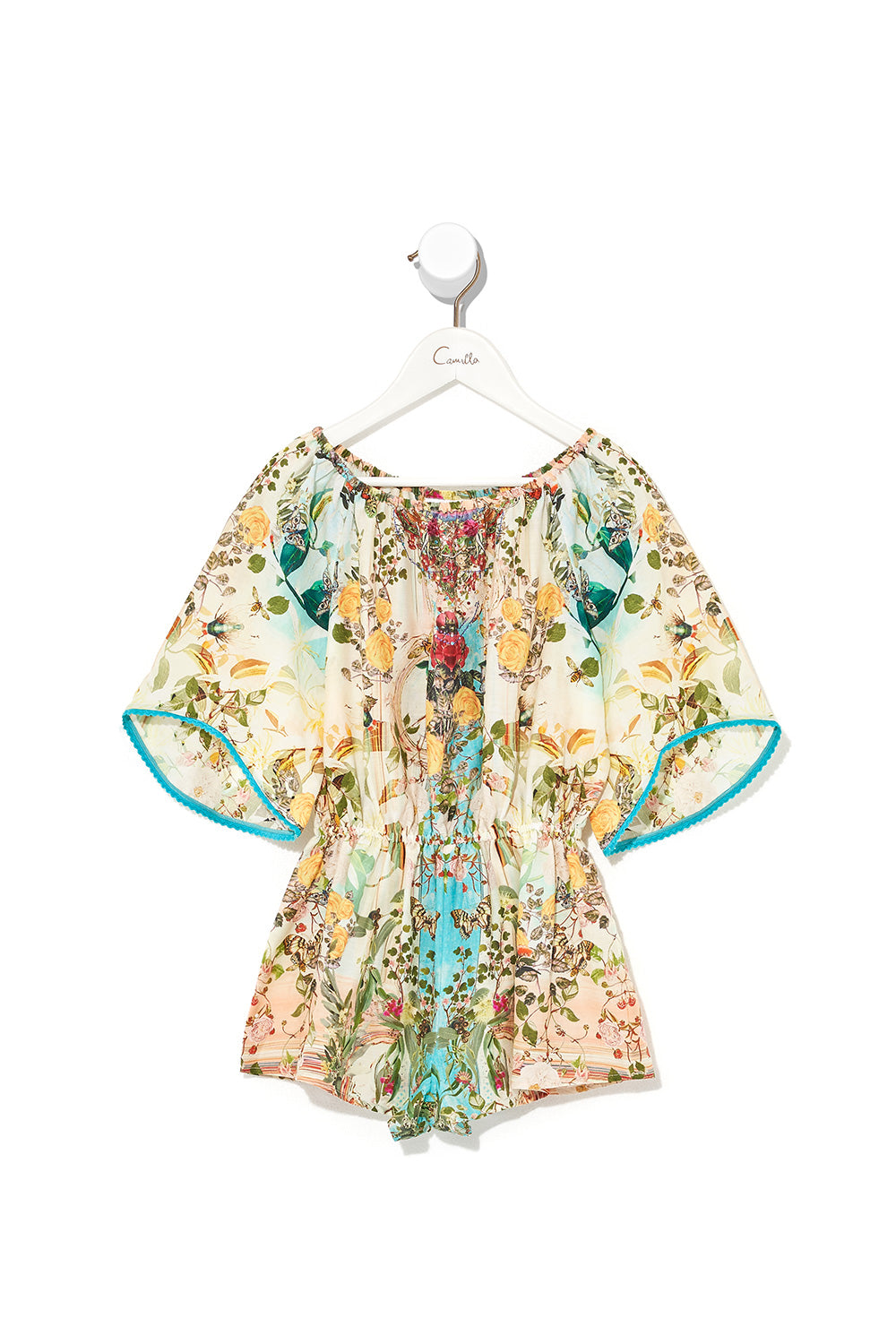 KIDS 3/4 FLARE SLEEVE PLAYSUIT TEA AND HONEY