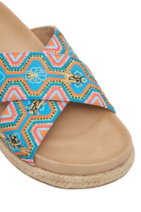 EMBELLISHED ESPADRILLE SLIDE NATURAL