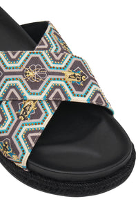 EMBELLISHED ESPADRILLE SLIDE SOLID BLACK