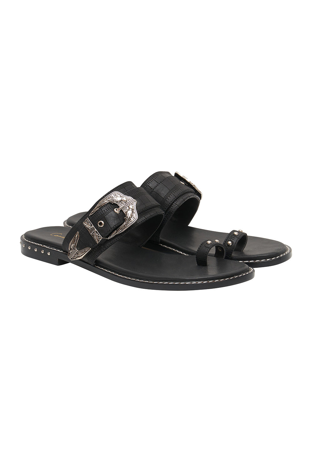 BIRD BUCKLE TOE LOOP SLIDE SOLID BLACK