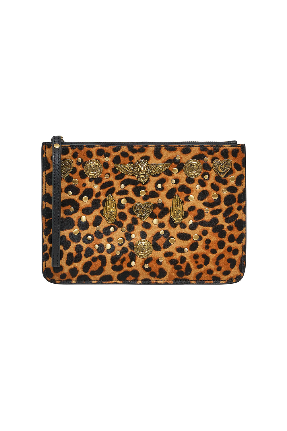 STUDDED LEATHER CLUTCH FIRE AT NIGHT