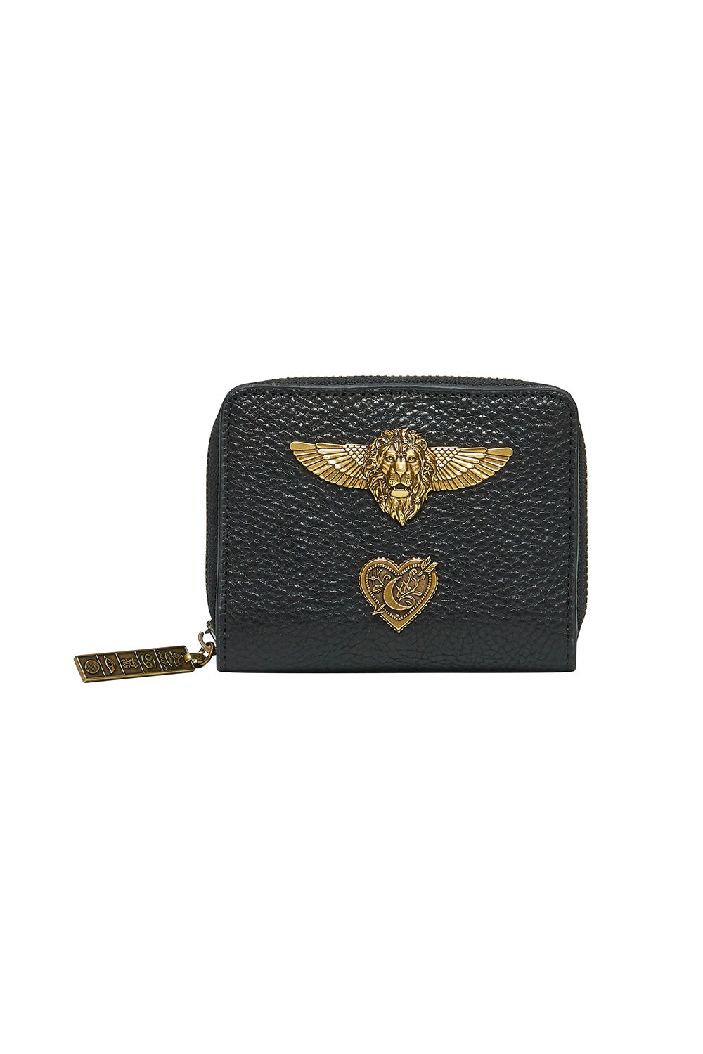 MINI ZIP AROUND LEATHER WALLET SOLID BLACK