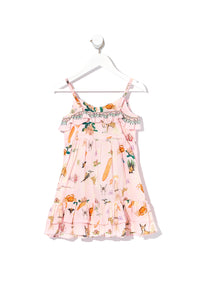 KIDS BUTTON THROUGH FRILL DRESS OVER THE RAINBOW
