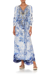 SPLIT HEM LACE UP KAFTAN HIGH TEA