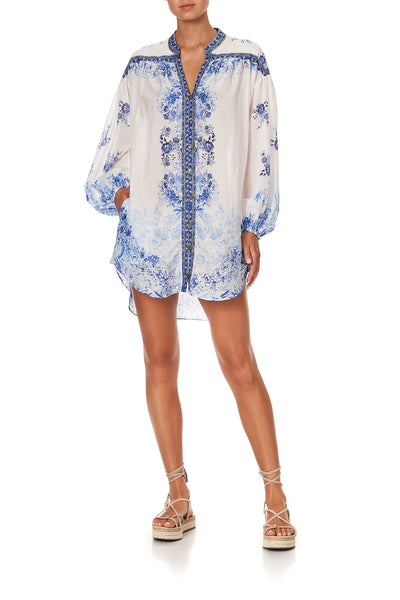 BLOUSON SLEEVE SHIRT DRESS HIGH TEA