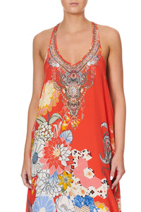V NECK RACERBACK DRESS PAISLEY IN PATCHES