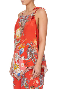 HANDKERCHIEF HEM TANK PAISLEY IN PATCHES