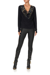 ELASTIC WAISTBAND LEGGING LEATHER