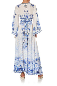 KIMONO SLEEVE DRESS WITH SHIRRING DETAIL HIGH TEA