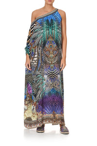 ONE SHOULDER KAFTAN WITH NECKBAND ANIMAL ARMY