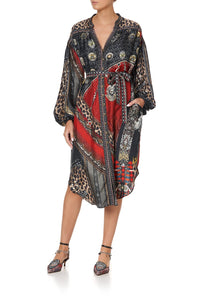 BLOUSON SLEEVE MIDI DRESS LONDON CALLING