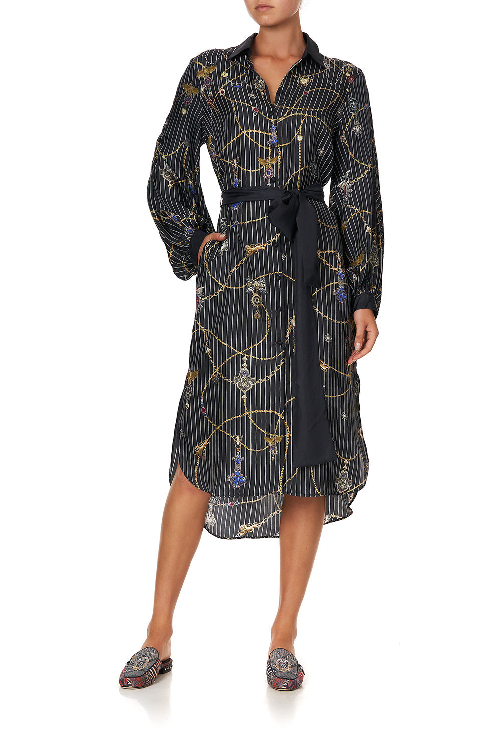 HIGH LOW MIDI SHIRT DRESS PUNK OF PRIMROSE