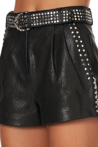 BELTED HIGH WAIST SHORTS LEATHER