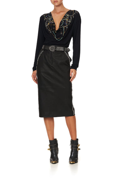 BELTED LEATHER SKIRT LEATHER