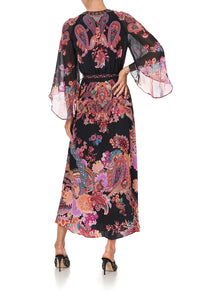WRAP DRESS WITH FLARE SLEEVE SWINGING SIXTIES