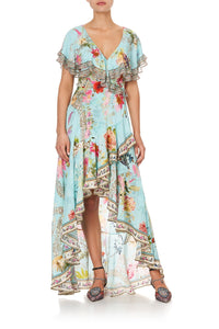 FRILL SLEEVE LONG DRESS A ROYAL STITCH UP