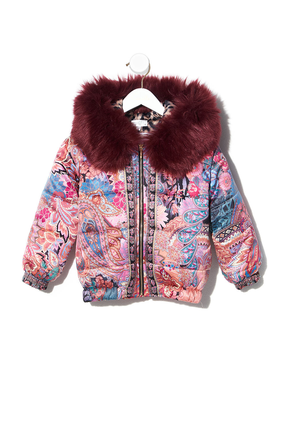 KIDS REVERSIBLE PUFFER WITH REMOVABLE FUR 12-14 MAYFAIR MARY