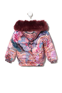 KIDS REVERSIBLE PUFFER WITH REMOVABLE FUR TRIM 4-10 MAYFAIR MARY