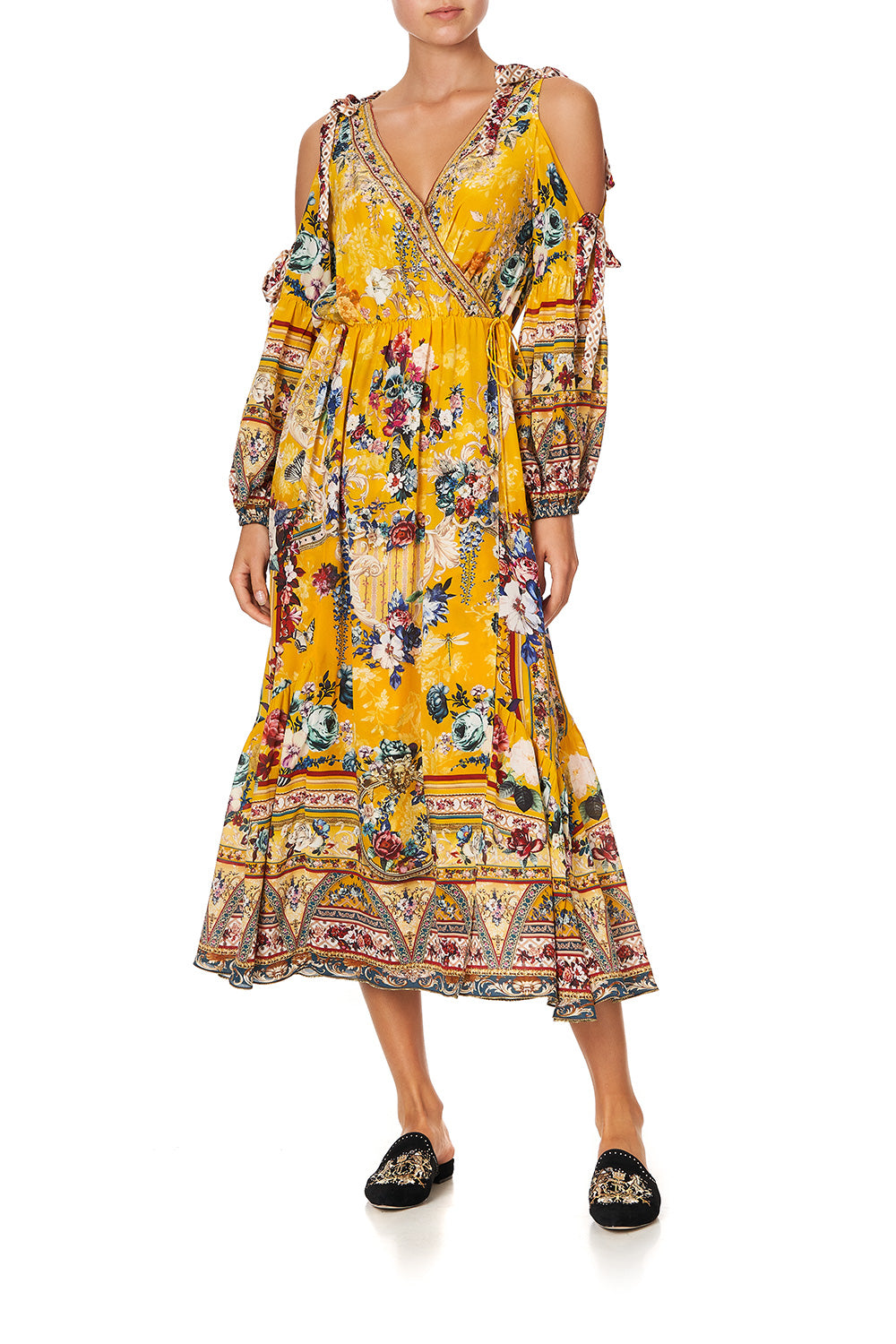 SPLIT SLEEVE WRAP DRESS CROWNED ROSES