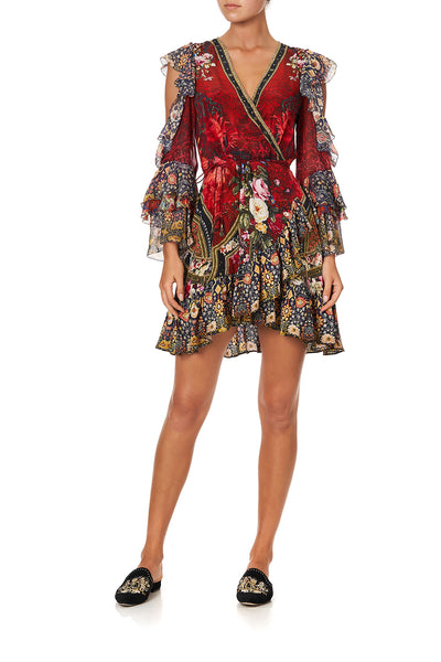 COLD SHOULDER RUFFLE WRAP MINI DRESS STORIES OF A STATION