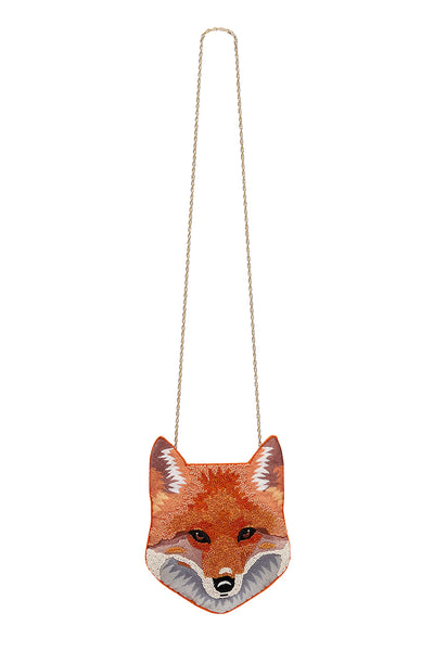 FOX BEADED BAG WITH CHAIN PATCHWORK HEART