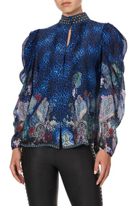 PINTUCK BLOUSE WITH DRAPED SLEEVE CAMDEN MOON