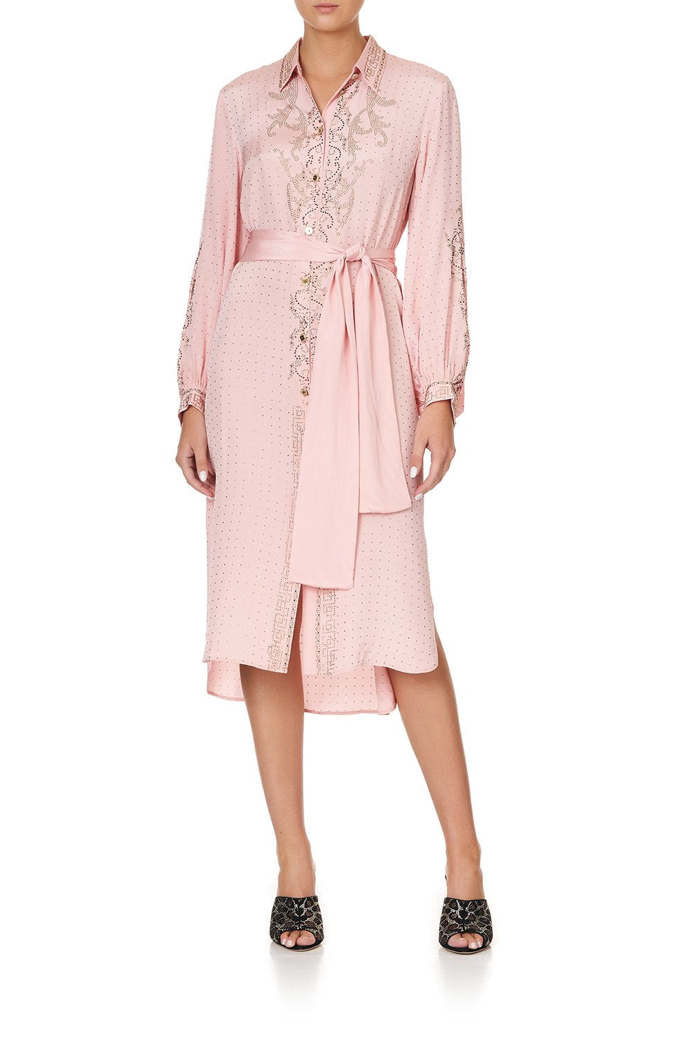 HIGH LOW MIDI SHIRT DRESS LUXE PINK