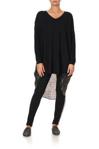 V NECK JUMPER WITH PRINT BACK ABINGDON PALACE