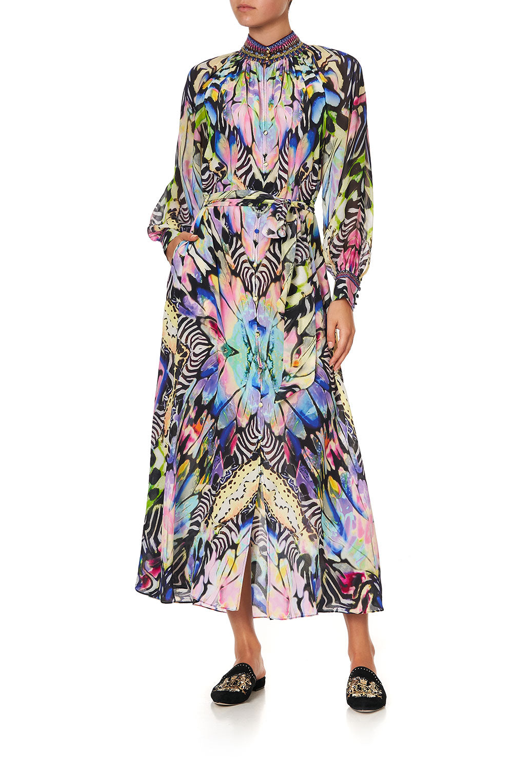 RAGLAN SLEEVE MIDI SHIRT DRESS TRANCE TEMPTATION
