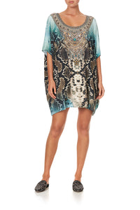 SHORT ROUND NECK LOUNGE KAFTAN PREY