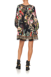 BLOUSON SLEEVE A LINE FRILL DRESS HAMPTON HIVE