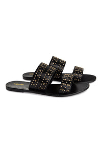 DOUBLE STRAP STUDDED SANDAL BLACK