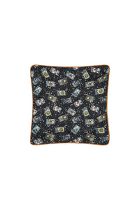 SMALL SQUARE CUSHION MIDNIGHT MOON HOUSE