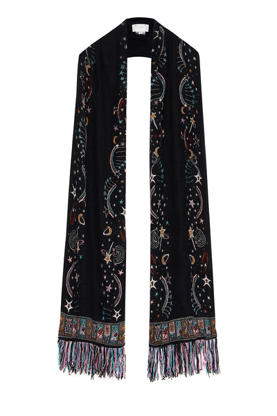 JACQUARD SCARF WITH FRINGING MIDNIGHT MOON HOUSE