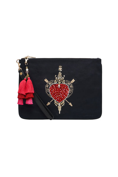 ZIP TOP CLUTCH WITH WRISTLET MIRROR MIRROR