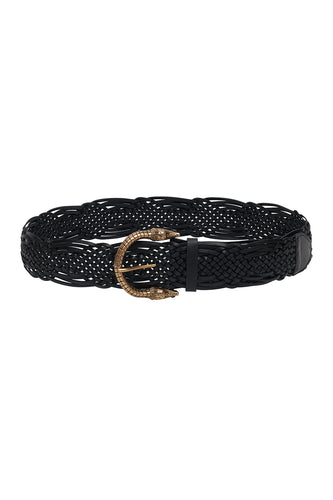 WOVEN LEATHER BELT SOLID BLACK
