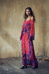 LONG TIERED RUFFLE DRESS TROPIC OF NEON